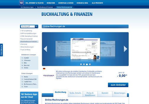 1&1 Business Apps online-rechnungen.de
