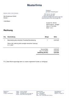 rechnung mit mwst ausweis rechnung pdf erstellen. Black Bedroom Furniture Sets. Home Design Ideas